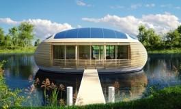 این خانه خورشیدی و زیبا روی آب، تماما از مواد بازیافت شدنی ساخته شده است!