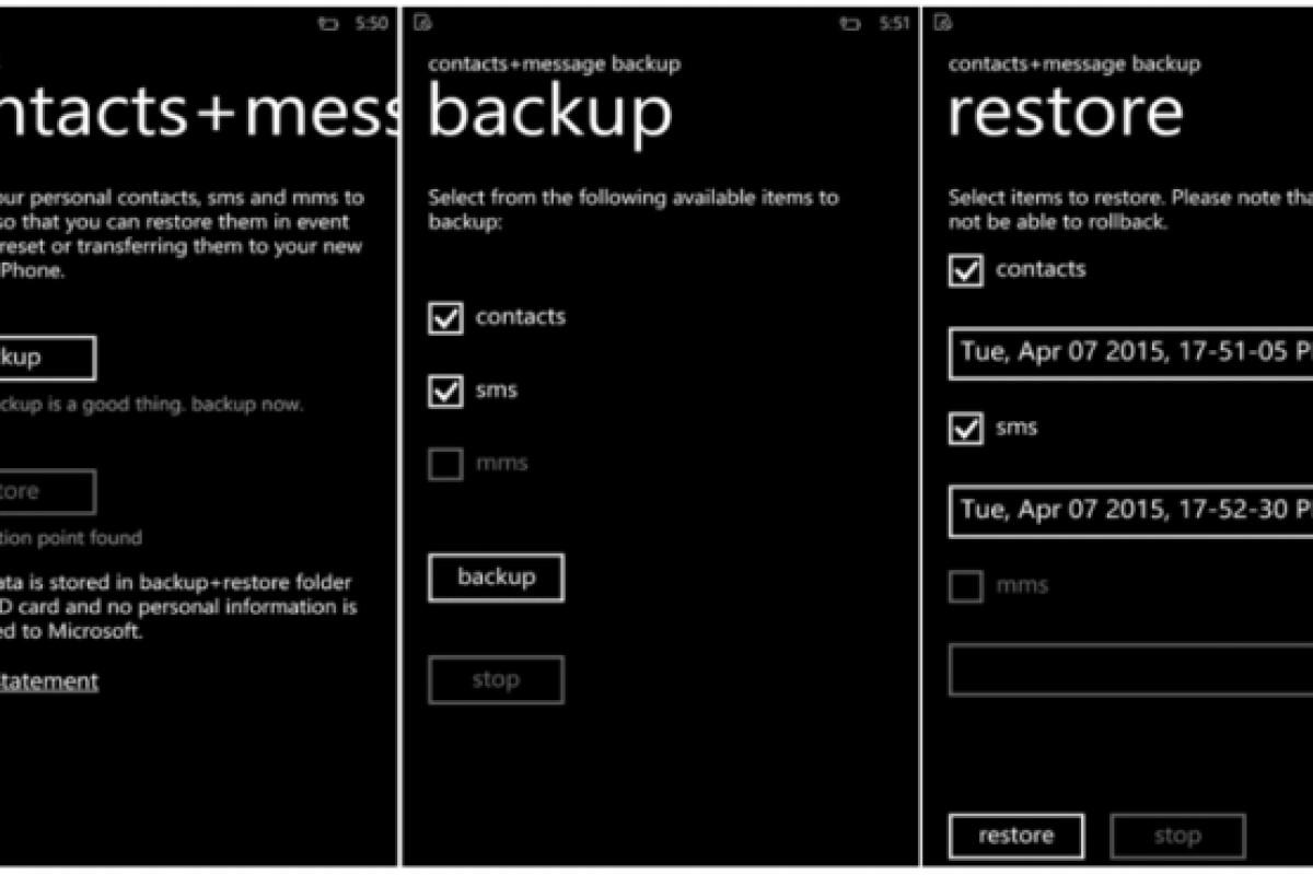 مایکروسافت برنامهای برای پشتیبانگیری از مخاطبین و پیامها منتشر کرد