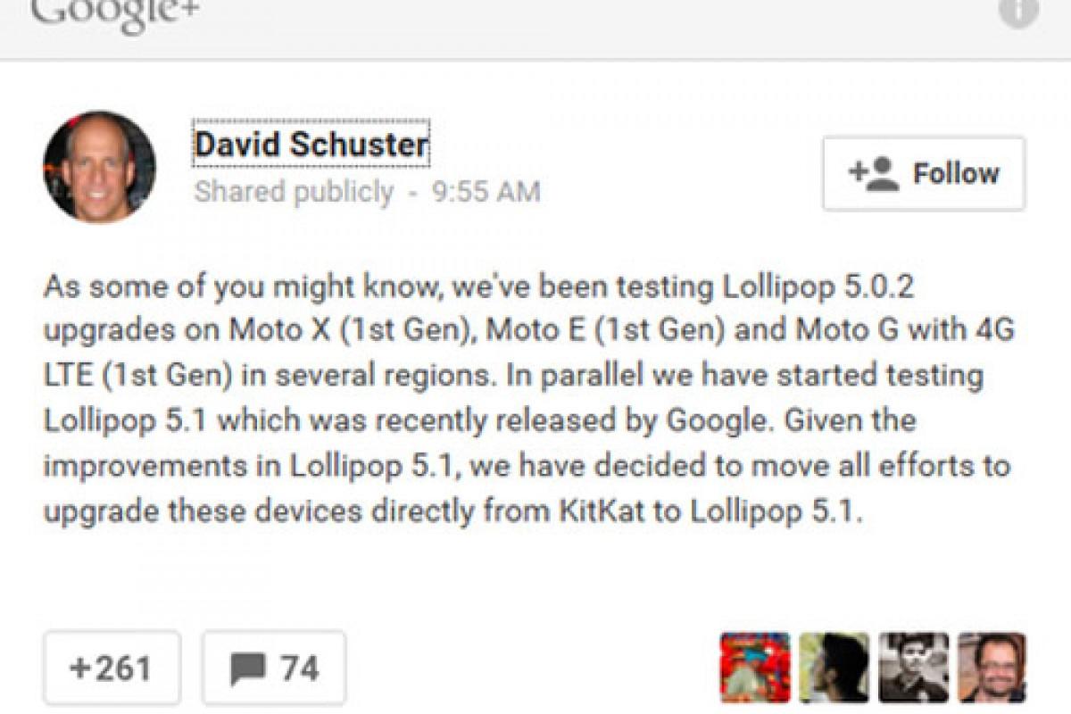 موتورولا: اسمارت فونهای نسل جدید مستقیما به اندروید 5.1 بهروز خواهند شد!