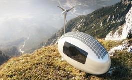 خانهای کوچک و عجیب به نام اکو کپسول که با انرژی خورشید و باد کار میکند