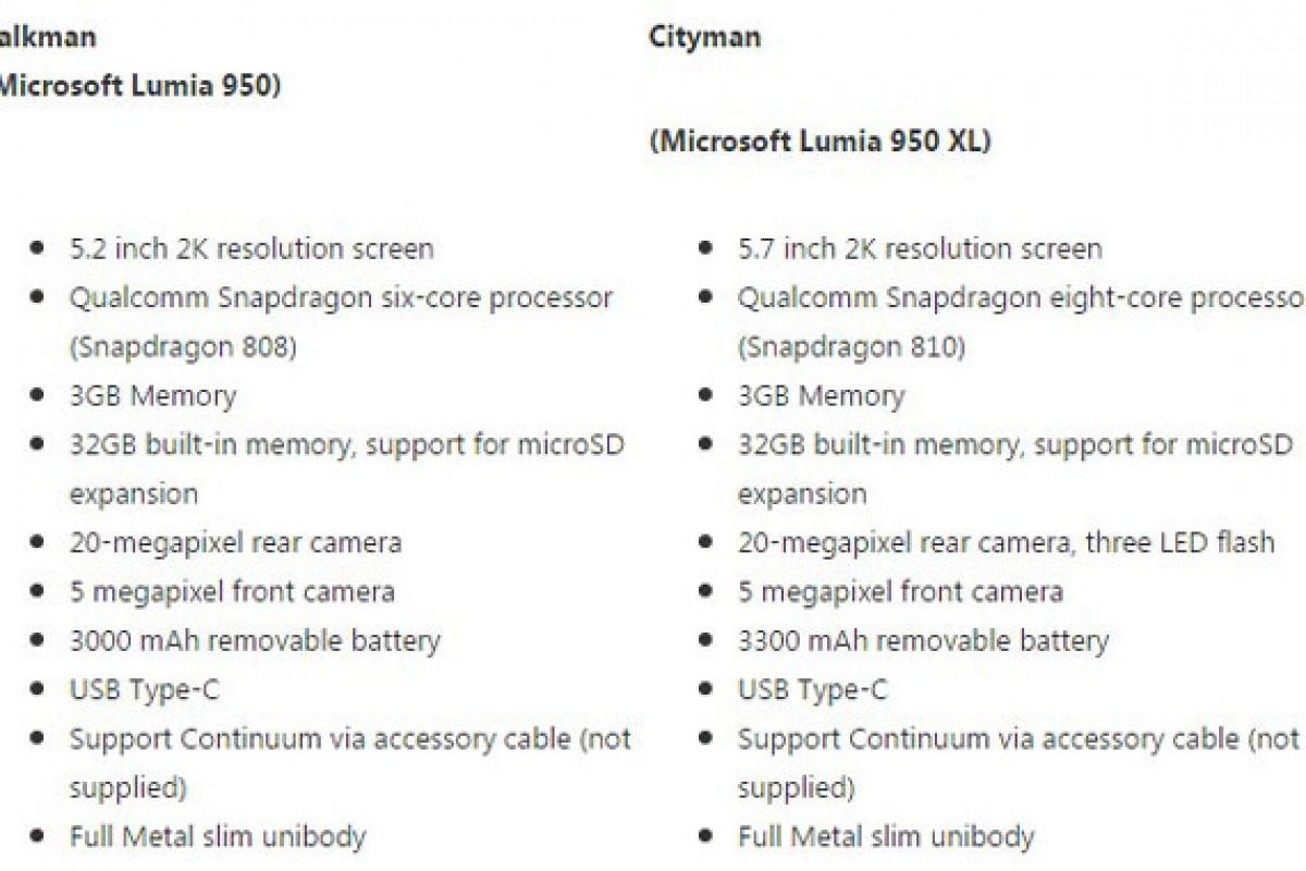 لومیا 940 در کار نیست؛ مشخصات کاملی از لومیا 950 و نسخه بزرگتر آن منتشر شد!