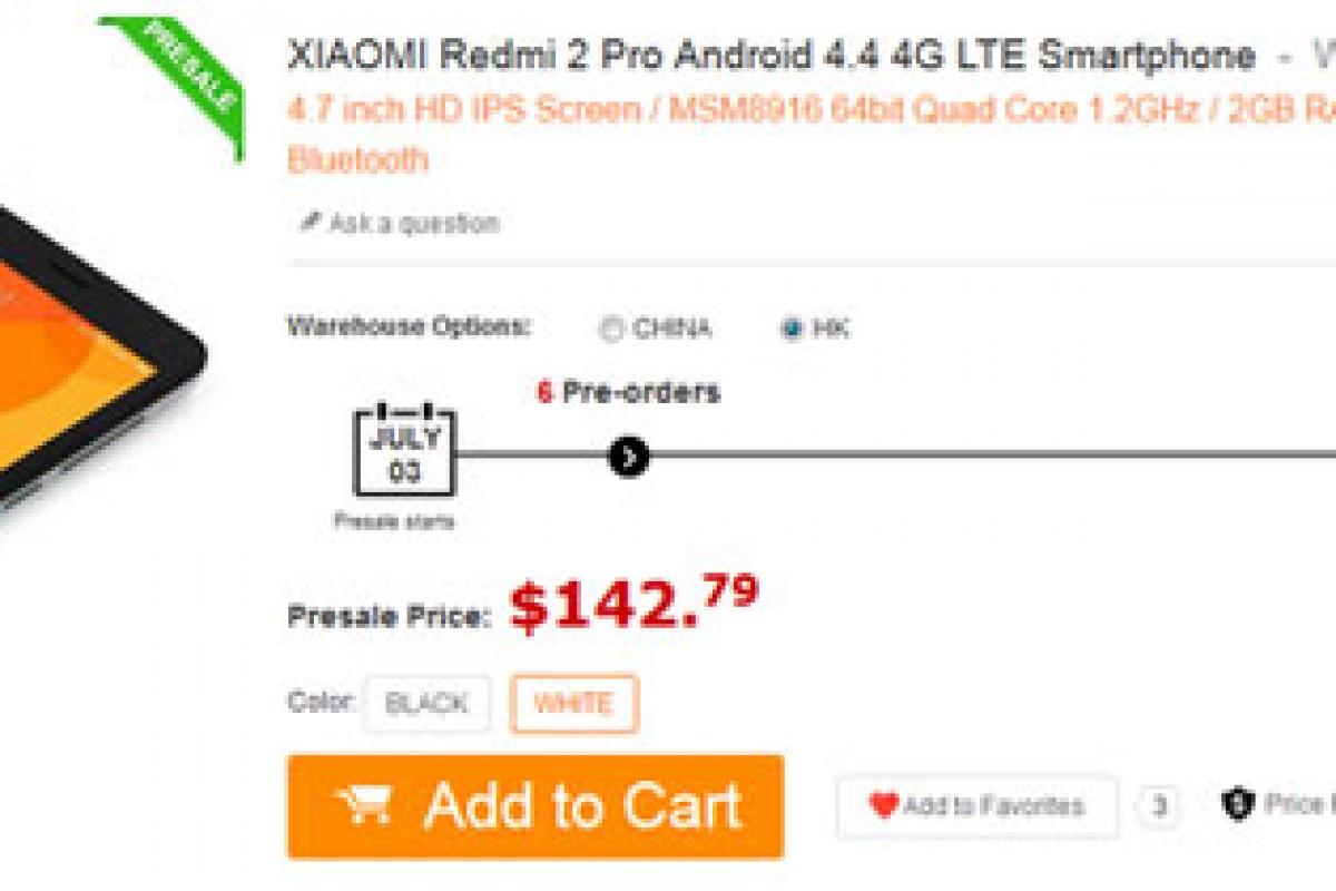 پیش فروش Redmi 2 Pro با قیمت 142.79 دلار آغاز شد!