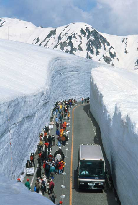 tourtists-wait-for-coach-in-plowed-snow-in-japan