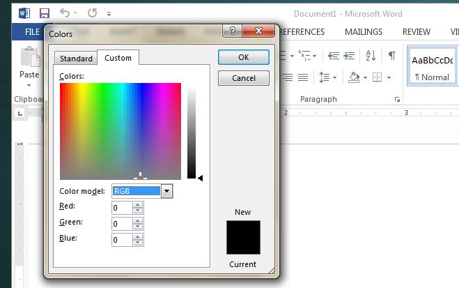استفاده از مقادیر RGB برای ساخت رنگ سفارشی در آفیس