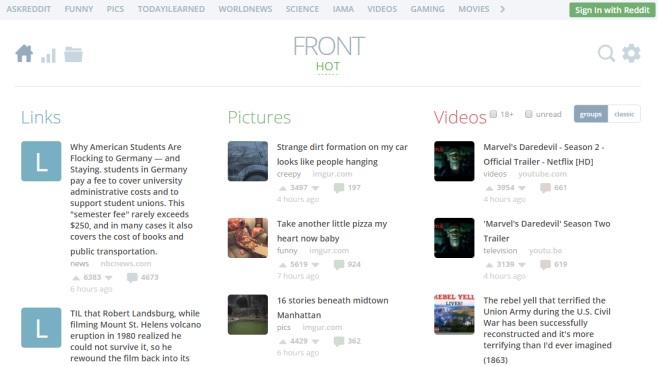 مرتبسازی پستهای ردیت براساس لینک، تصویر و ویدیو