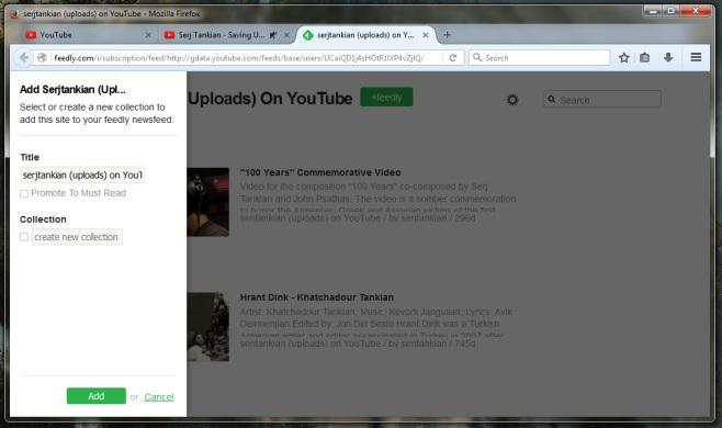 اضافهکردن اشتراک کانال یوتیوب به فیدلی از نوار بار فایرفاکس