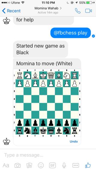 اجرای بازی مخفی شطرنج در فیسبوک مسنجر