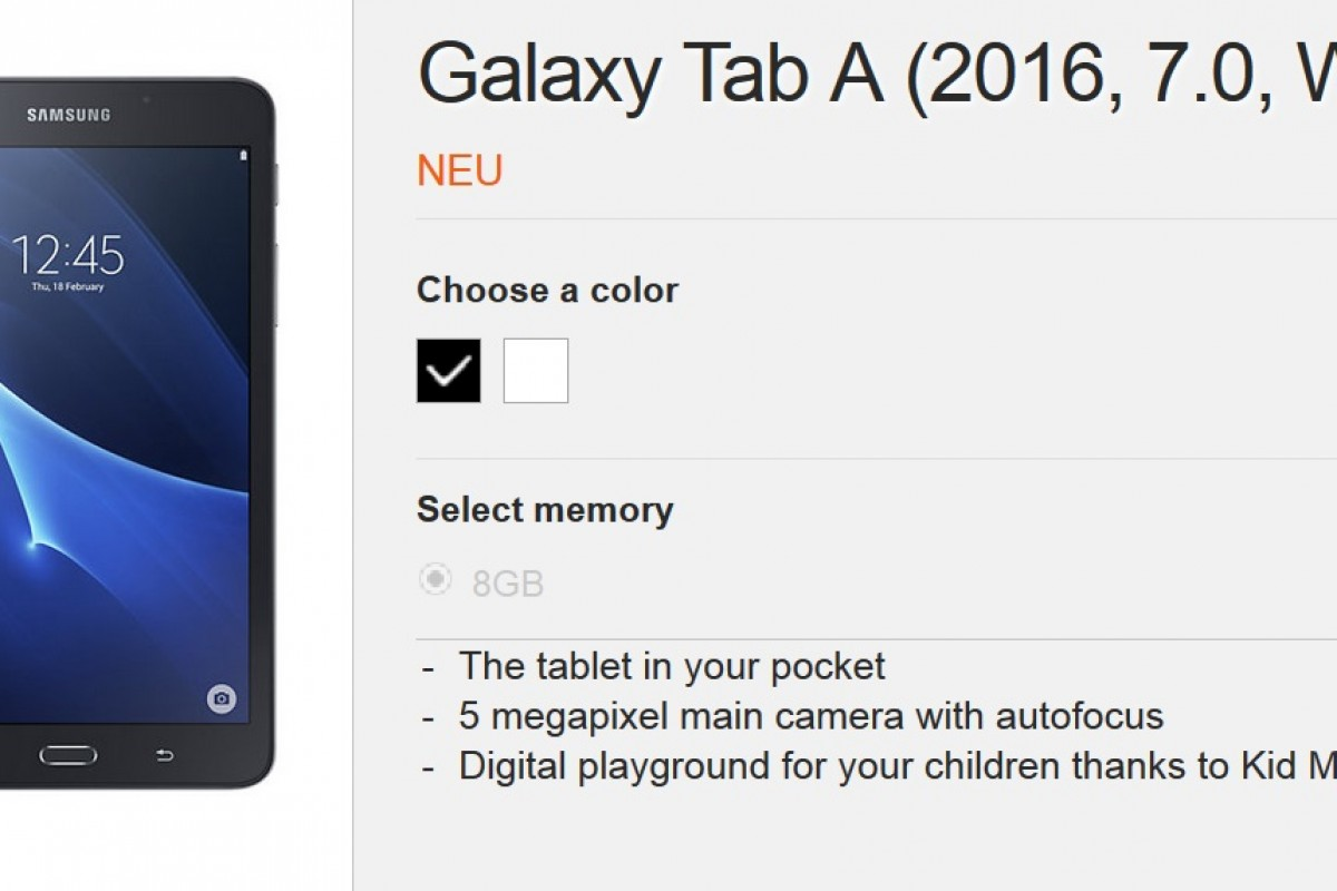 مشخصات گلکسی تب A نسخه 2016 منتشر شد