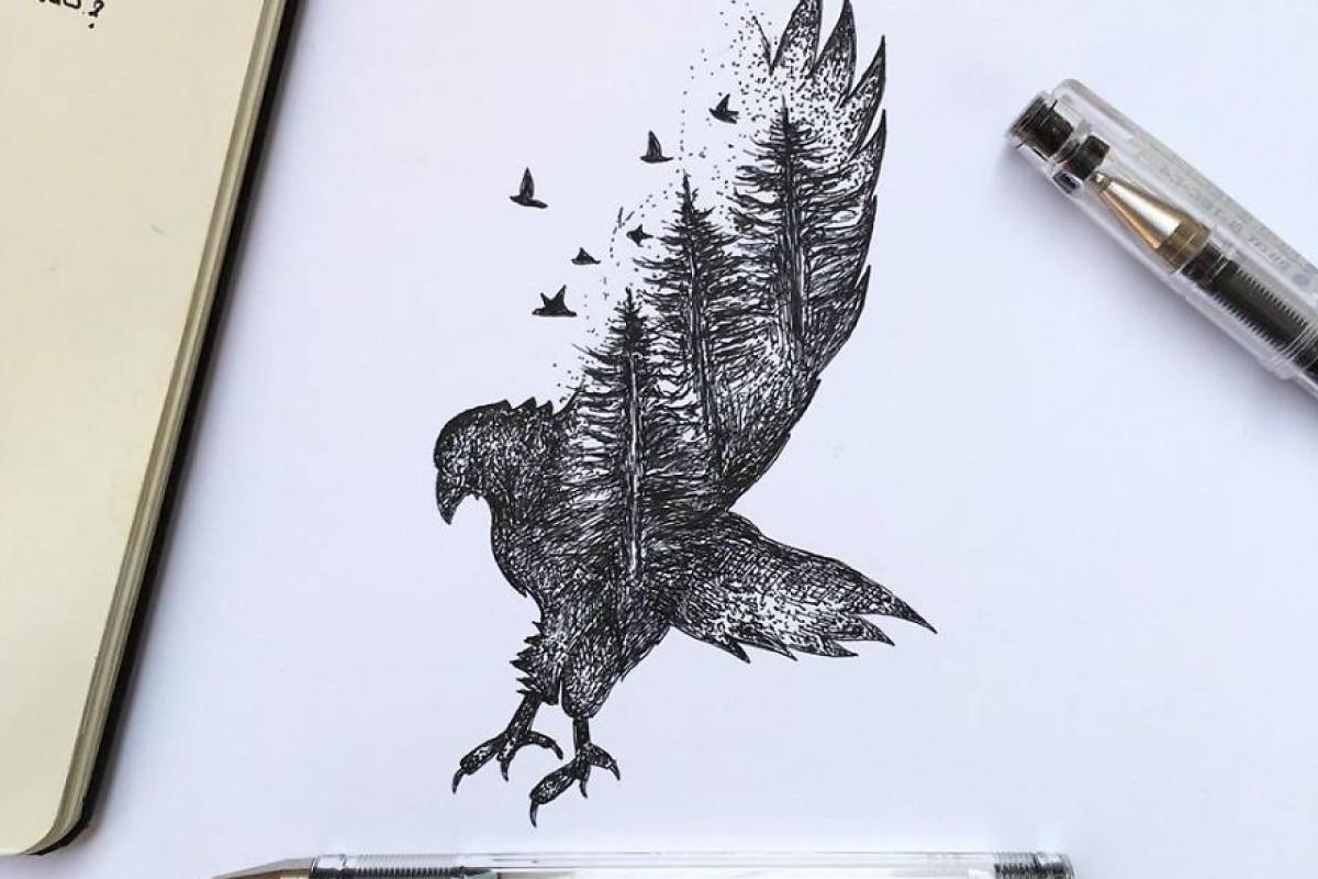 تصاویری جذاب از طراحی حیوانات با خودکار و مداد