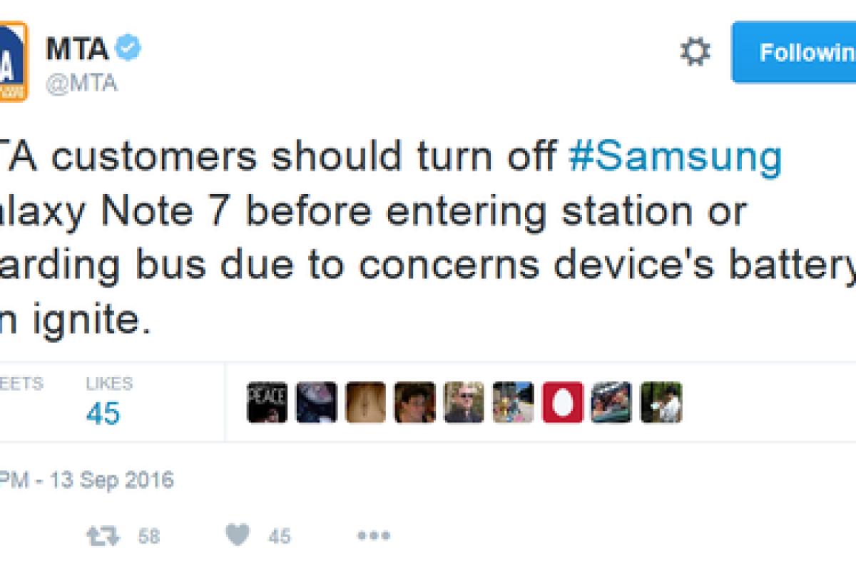 مقامات نیویورک و نیوجرسی از مردم خواستند تا در قطار و اتوبوس از گلکسی نوت ۷ استفاده نکنند!