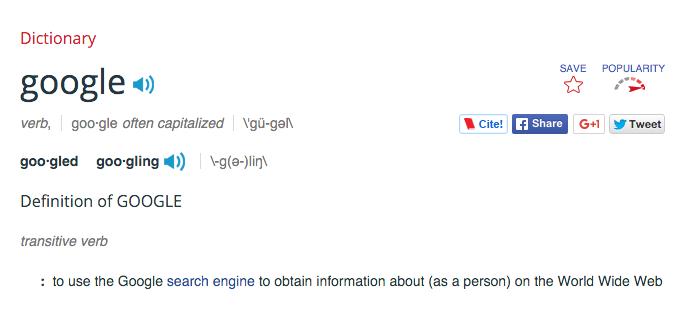 """تقریبا گوگل کردن کم کم جای عبارت """"جستجو در اینترنت"""" را گرفت و گوگل محبوبیت گوگل روز به روز بیشتر شد. در ژوئن سال ۲۰۰۶ فعل """"گوگل"""" به فرهنگ لغت وبستر اضافه شد."""