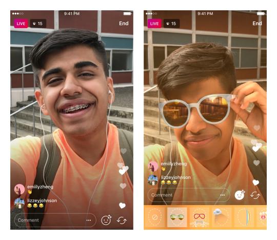 فیلترهای چهره در ویدئوهای زنده