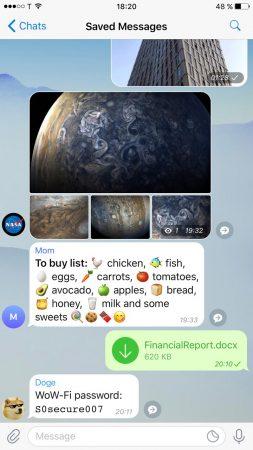 ذخیره سازی پیام های تلگرام