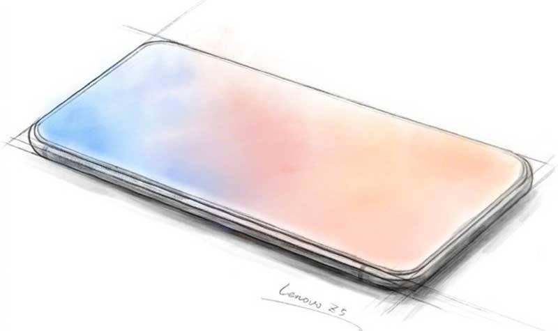 Lenovo-Z5-Sketch لنوو طرحی رویایی از رندر گوشی هوشمند Z5 فاقد حاشیه را منتشر کرد
