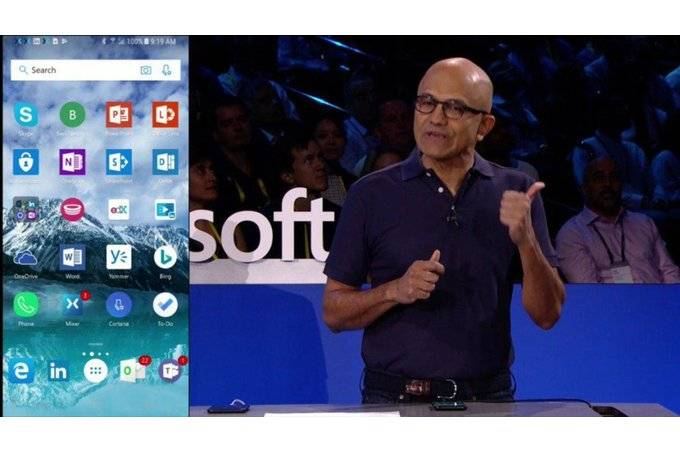 Microsoft-CEO-proudly-displays-software-on-iOS-and-Android مدیرعامل مایکروسافت با افتخار تمام برنامههای این شرکت برای اندروید و iOS را نمایش داد