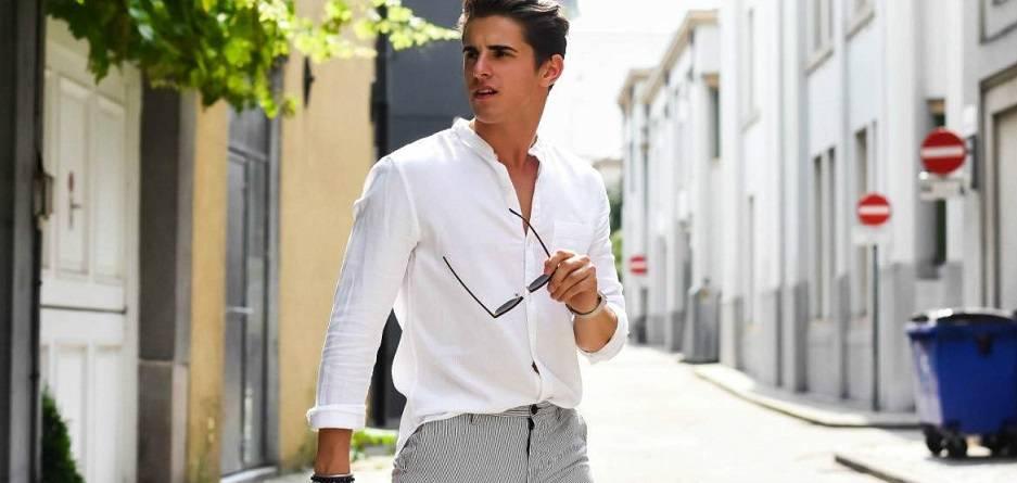 men-white-dress-shirt-summer-street-style 10 قانون برای داشتن یک استایل مردانه تابستانی