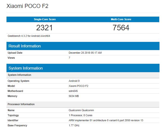 7D63E846-6591-4664-84E6-31642140592E افشای مشخصات سختافزاری اسمارتفون شیائومی پوکو F2 توسط فهرست گیکبنچ