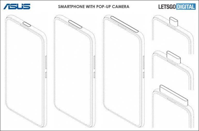 Asus-Smartphone-pop-up-camera ایسوس قصد دارد اسمارتفونهایی با دوربین سلفی پاپآپ و نمایشگر حفرهدار عرضه کند