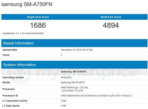 Capture-2 سامسونگ گلکسی A7 2018 با سیستمعامل اندروید پای در گیکبنچ ظاهر شد
