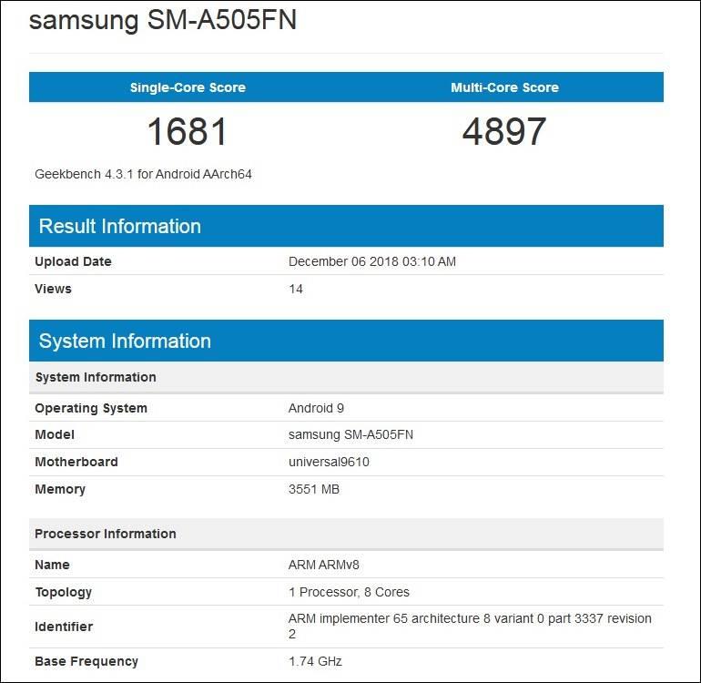 گلکسی A50 با یک پردازنده کاملا جدید در گیکبنچ ظاهر شد