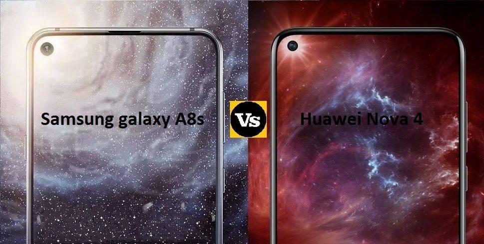Galaxy-A8s-vs-Huawei-Nova-4 مقایسه مشخصات گلکسی A8s با آنر V20 و هواوی نوا 4؛ پادشاهان پنلهای اینفینیتی O