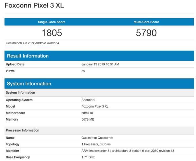 Google-Pixel-3-Lite-XL-benchmark پیکسل 3 لایت XL با پردازنده اسنپدراگون 710 و مقدار قابل توجهی رم عرضه خواهد شد!
