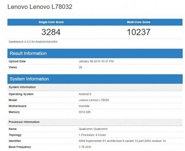 Lenovo-L78032 لنوو Z5 پروGT با پردازنده اسنپدراگون 855 در گیکبنچ رویت شد