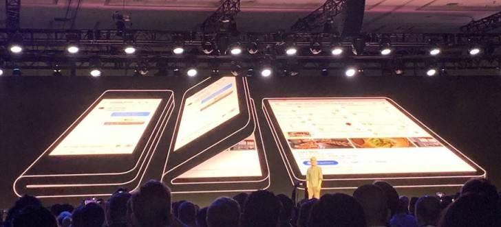 Samsung-showcases-its-foldable-phone سامسونگ از اسمارت فون خمشدنی خود پشت درهای بسته پرده برداشت!