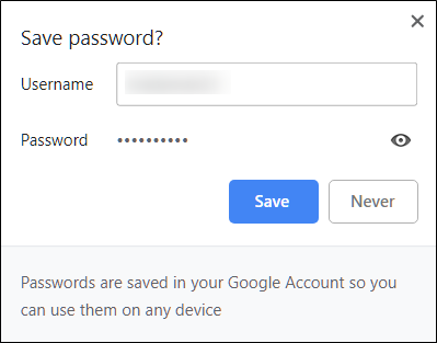 Save a Password to Chrome4