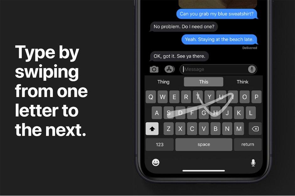قابلیت سوایپ در iOS 13