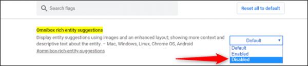 غیرفعال کردن پیشنمایش تصاویر در پیشنهادات جستجو نوارآدرس کروم