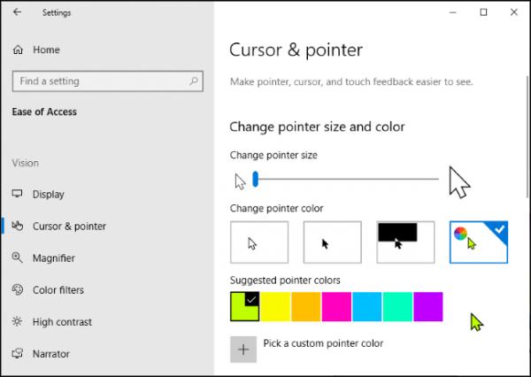رنگ و انداره نشانگر ماوس را در ویندوز 10