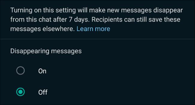 ارسال پیام های محو شونده در واتساپ