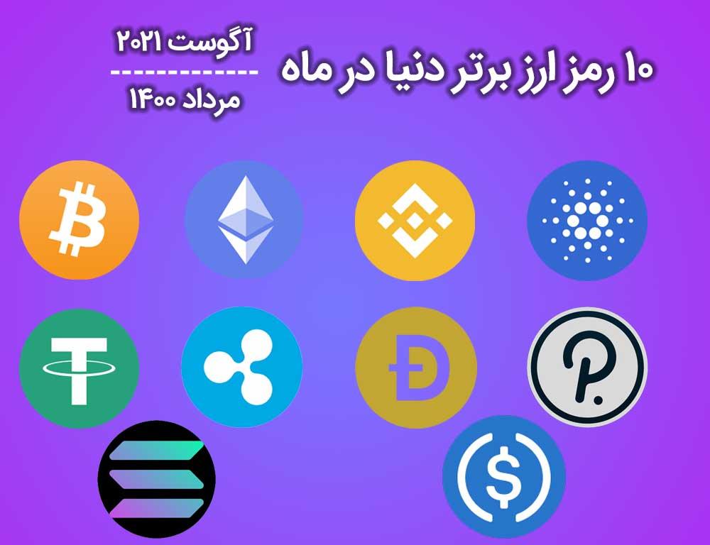 با 10 ارز دیجیتال برتر در ماه آگوست 2021 آشنا شویم!